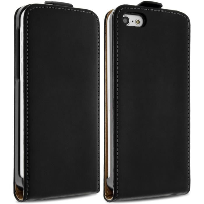 Housse etui clapet cuir apple iphone 5 5s noir achat for Housse cuir iphone 5