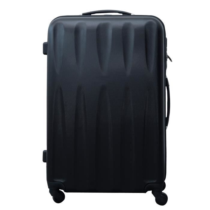 valise rigide de voyage trolley bagage roulettes noir achat vente valise bagage. Black Bedroom Furniture Sets. Home Design Ideas