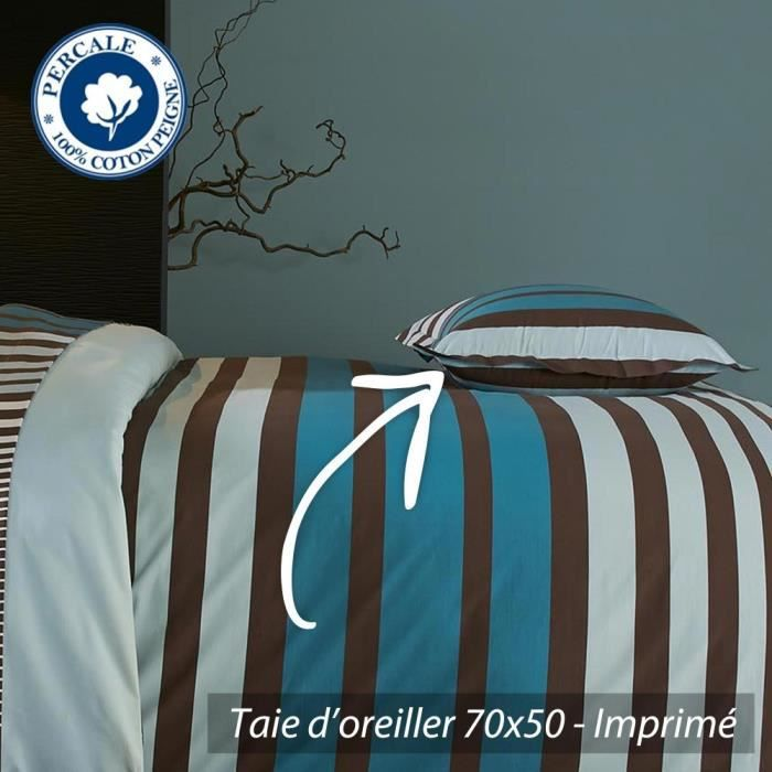 taie d 39 oreiller 70x50 cm percale pur coton stri achat. Black Bedroom Furniture Sets. Home Design Ideas