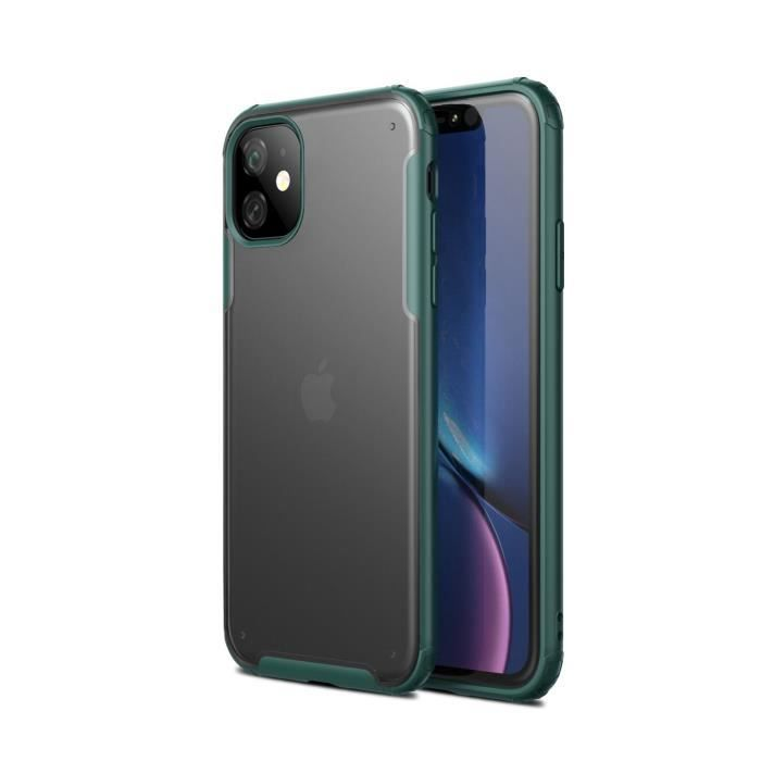 COQUE - BUMPER Coque iPhone 11,Vert Ultra Slim Transparent Antich