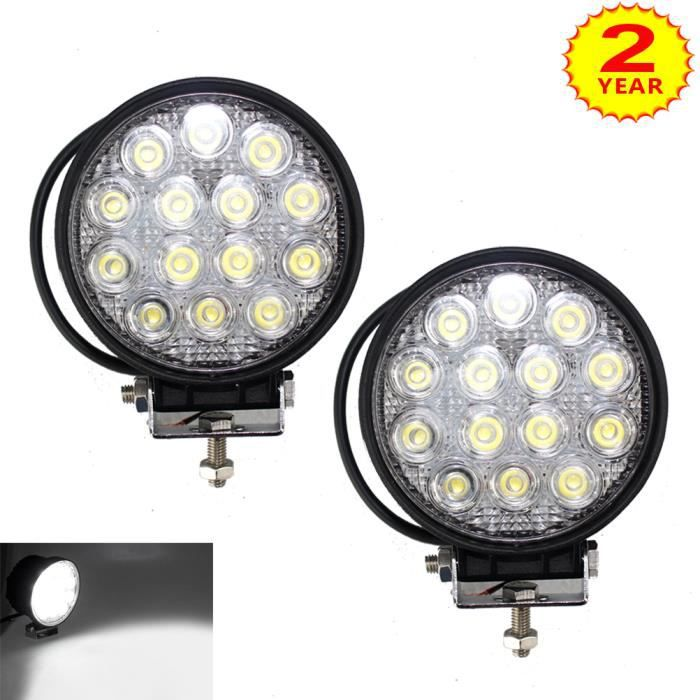 4x phare de travail LED 42W Rond 4x4 Camion tracteur offroad  12v//24v//Spot Feux