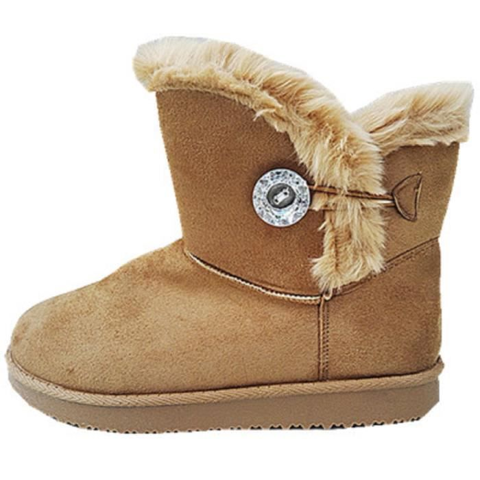 Fashionfolie888 - Femme Bottine Chaussure fourrées fur Plat Talon Fille  Botte Boots JR911 CAMEL a51d4f336c94