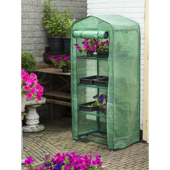 NATURE Serre de jardin avec étagère à 4 niveaux - H 160 x 69 x 49 cm