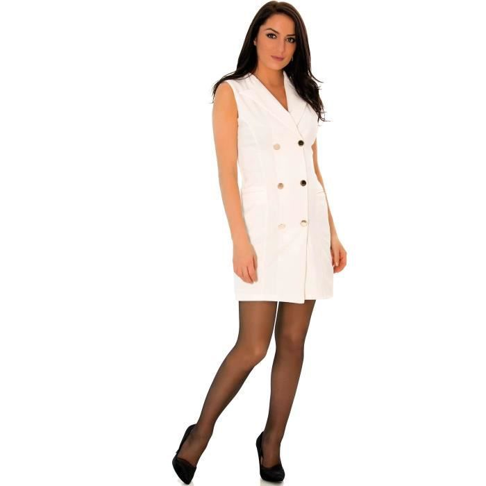 Miss Wear Line - Robe blanche blazer sans manches avec boutons