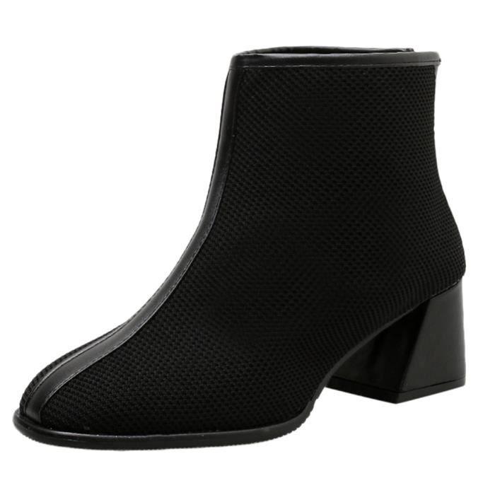 Femmes Flats fond épais chaussures à bout rond Rétro Fringe fond épais Bottines Bleu LQT91016604BU40