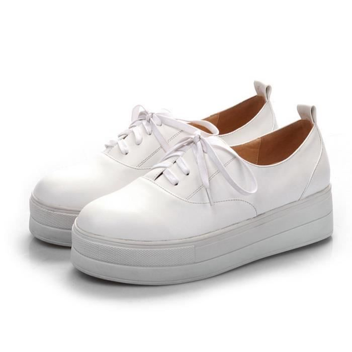 cuir dentelle jusqu la plate forme casual chaussures plates femmes rondes baskets solides JXcFq