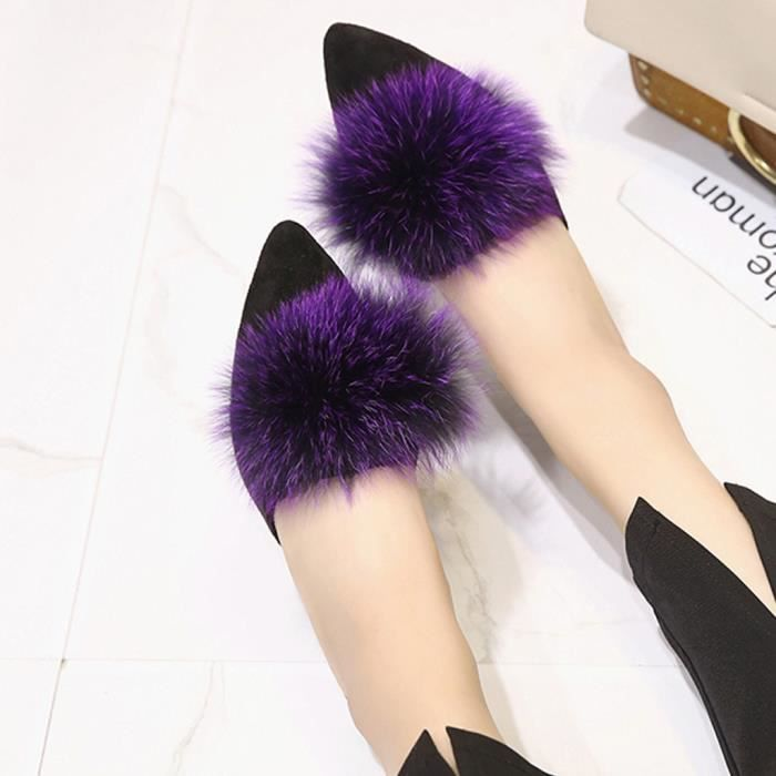 Toe Sinlge Chaussures Pointu Mode Lazy Chaussures Femmes Casual talons hauts Chaussons Violet