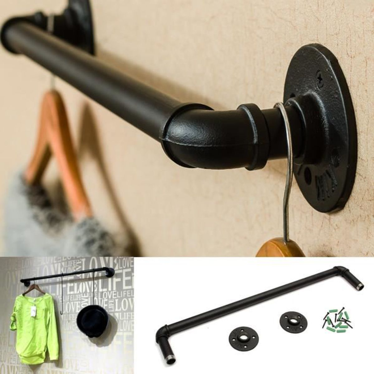 vintage fer tuyau porte serviettes tag re mural support iron pipe towel rail uk achat vente. Black Bedroom Furniture Sets. Home Design Ideas