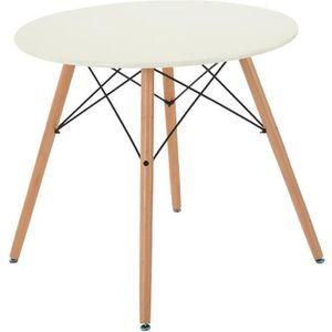 TABLE À MANGER SEULE Table  à  manger ronde style scandinave rétro,Blan
