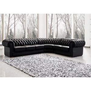 canap sofa divan grand canap dangle capitonn noir chesterfield - Canape Profond