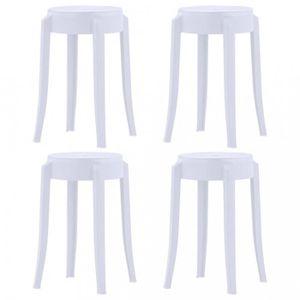 TABOURET P90  4 pcs Tabourets empilables Blanc Plastique