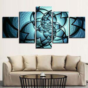 5 Pieces Peinture Bleu Fleur Motif Toile Peinture Mur Art