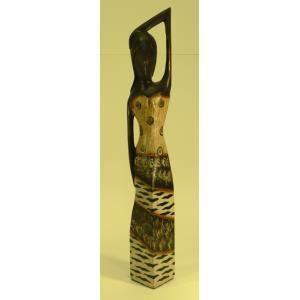 STATUE - STATUETTE Statue de femme en bois brun robe décor colonial 6
