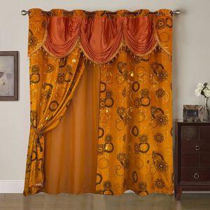 LxH 57x145cm, Orange Home U Rideau Voilage avec Impression Vague Lot de 2 Panneaux Rideau /à Pattes