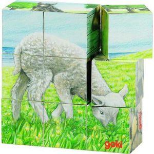 PUZZLE Puzzle de cubes animaux de la ferme Goki