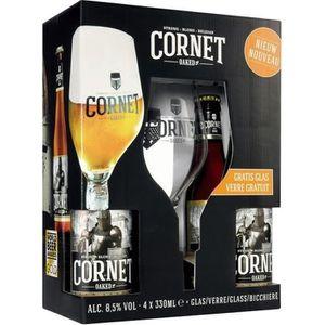 BIÈRE Coffret Cornet 6x33cl + 2 verres