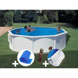 PISCINE Kit piscine acier blanc Gré Bora Bora ronde 3,70 x