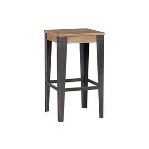 TABOURET Miliboo - Tabouret de bar industriel métal et bois