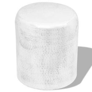 TABLE BASSE Table basse-tabouret martelé en aluminium Argenté