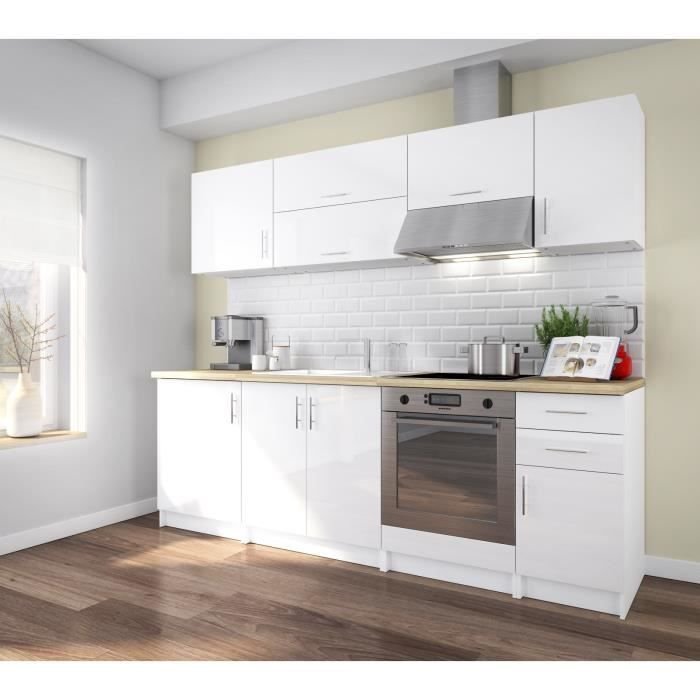 corry 240 cuisine compl te 2m40 laqu blanc brillant achat vente cuisine compl te cuisine. Black Bedroom Furniture Sets. Home Design Ideas