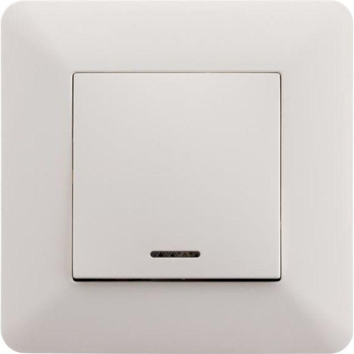 ARTEZO Interrupteur poussoir à voyant 10 A blanc