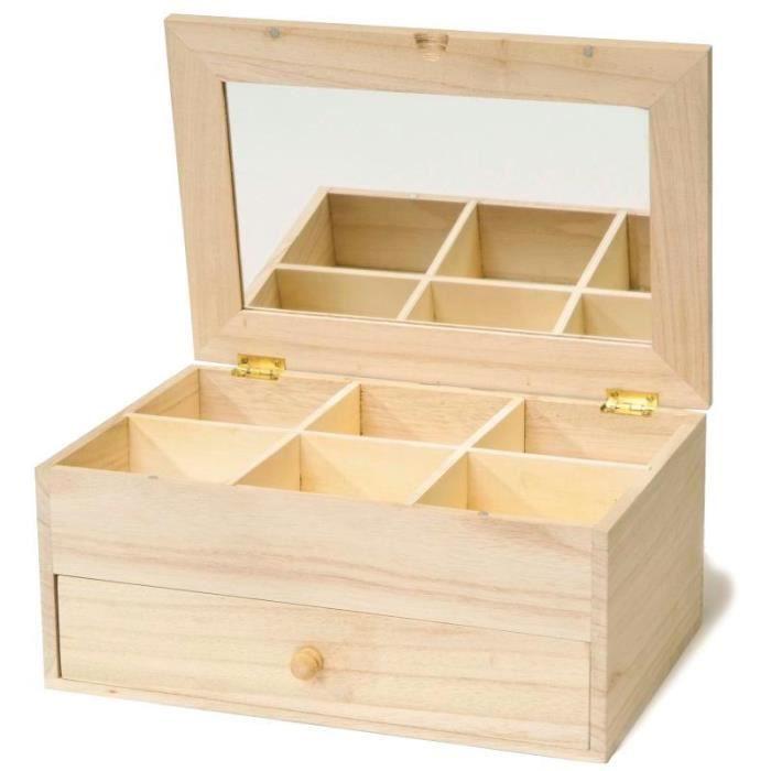 Coiffeuse miroir 6 compartiments et 1 tiroir Matière : bois Dimensions : Coiffeuse fermée : 26 x 18 x 11,5 cm aille du miroir : 20