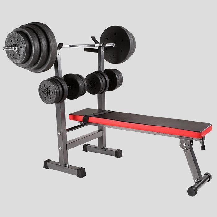 FIRNOSE Banc de Musculation Pliable avec Support de Barres pour Haltère et Station à Dips, Hauteur Réglable - Rouge/Noir