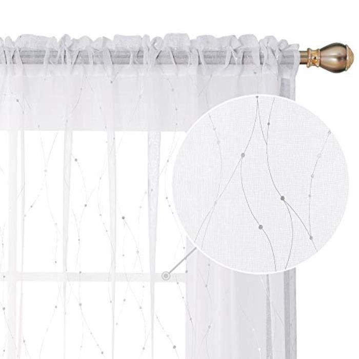 Coffret Multi-Jeux JQ5CT poche à tringle rideaux transparents blancs 84 points rideaux imprimés aspect lin rideau de fenêtre transpa