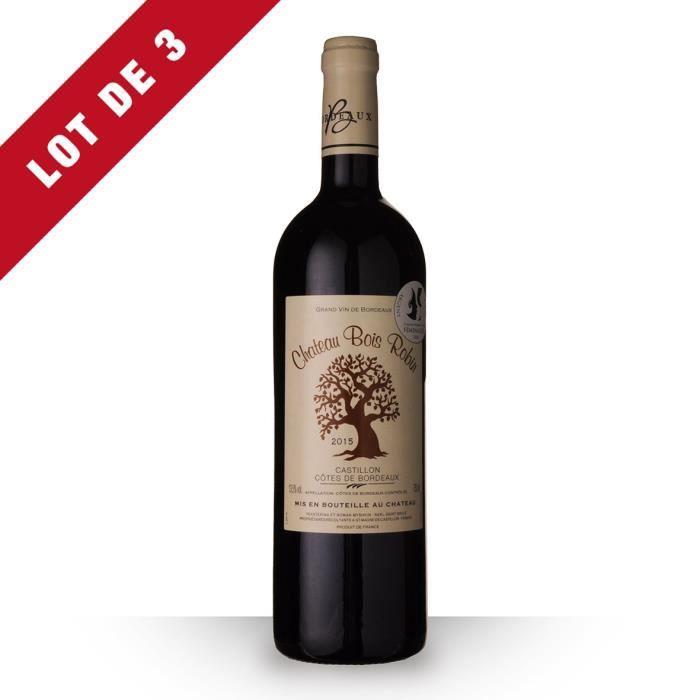 Lot de 3 - Château Bois Robin 2015 AOC Côtes de Bordeaux Castillon - 3x75cl - Vin Rouge