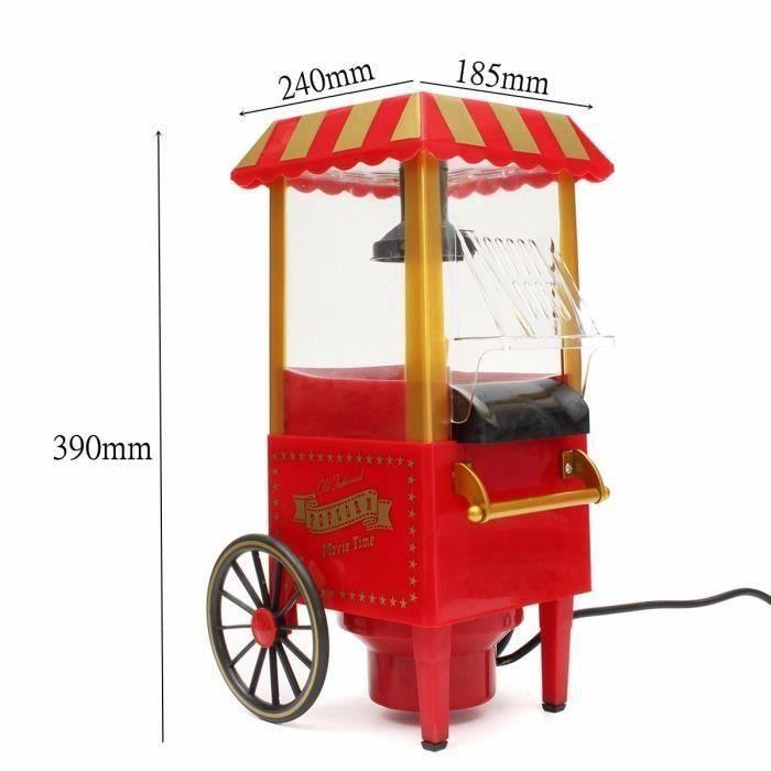 Rétro Chariot Appareil Machine à Pop Corn Maker Sans Huile Maison 1100W 220V EU