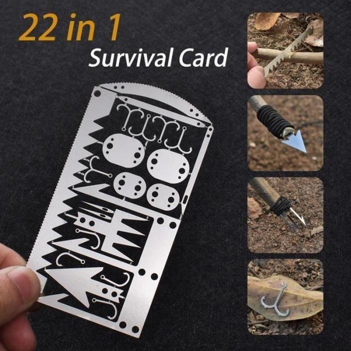 22 En 1 Multi Tool Card Survival Wallet Sized Camping Randonnée Kit d'urgence EDC Gear