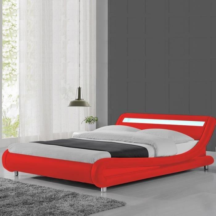 Lit led design Julio - 140x190 - Rouge