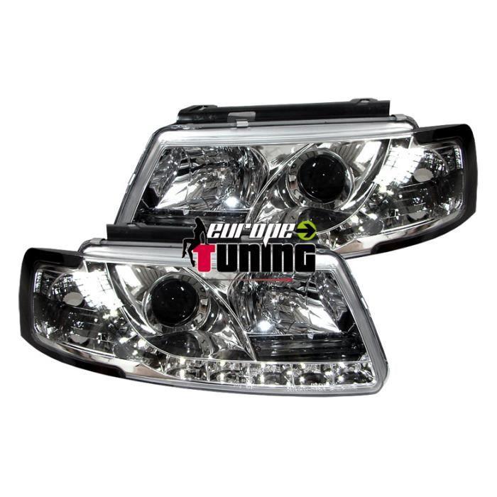 phares à LED diurnes, DragonLights, chrome, avec clignotant... 96-00 pour: Volkswagen Passat B5 96-00