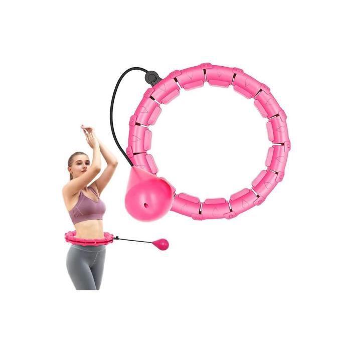 Hoola Hoops 24 Noeuds Anneau Détachable 2 en 1 Taille Réglable avec Gravité Boule de Poids 360 Degrés Tournant sans Chute pour