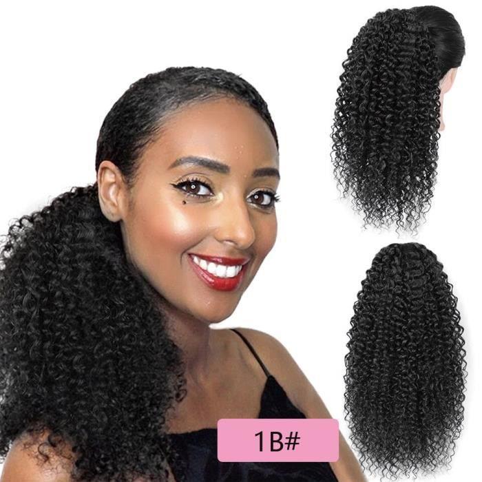 A-1B14pouces -Extension capillaire synthétique afro américaine, queue de cheval bouffante avec cordon de serrage, cheveux Afro crép