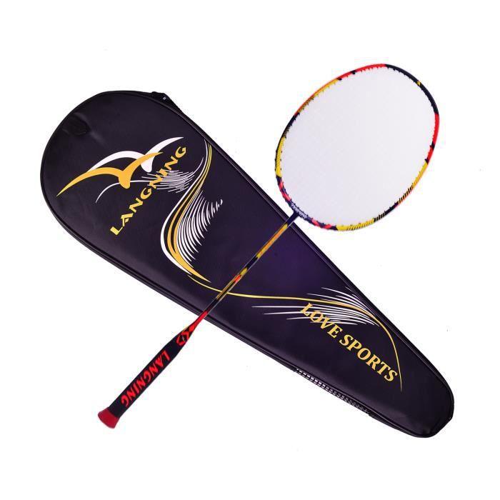 Raquette de badminton légère en fibre de carbone 7 microns avec sac de transport 68g orange