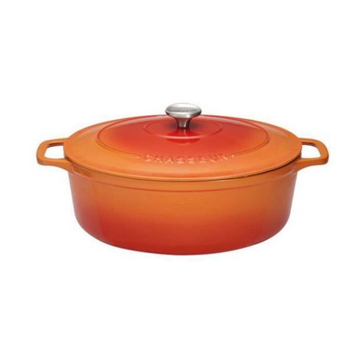 Chasseur - cocotte ovale en fonte émaillée 35cm orange sublime - puc473507