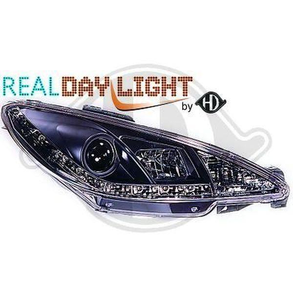 Paire de feux phares Peugeot 206 98-02 Daylight DRL led noir (786)