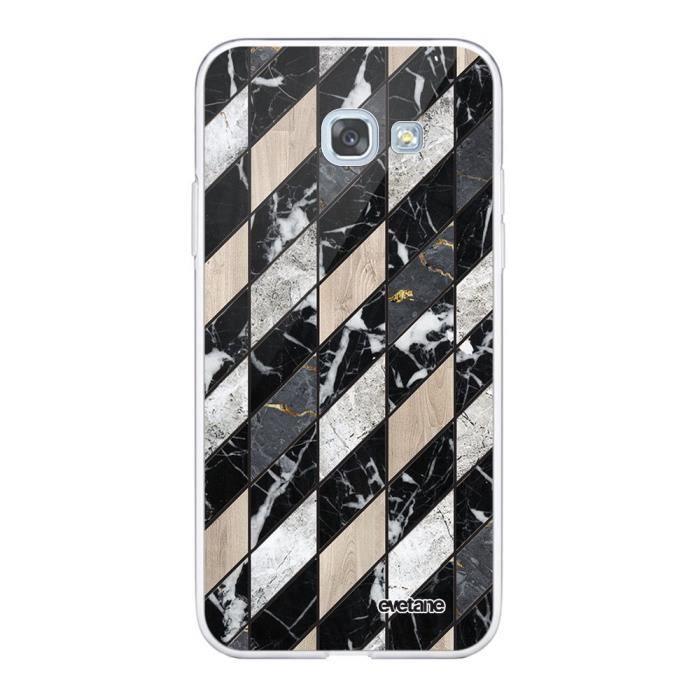 Coque Samsung Galaxy A5 2017 360 intégrale transparente Marbre Gris Beige Ecriture Tendance Design Evetane