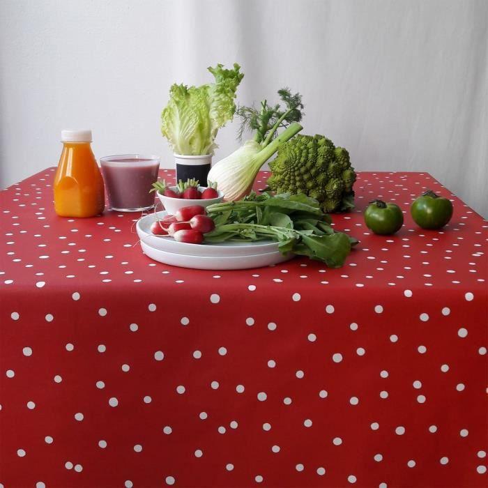 Nappe Confettis rouge coton enduit carrée 160x160 - Fleur de Soleil