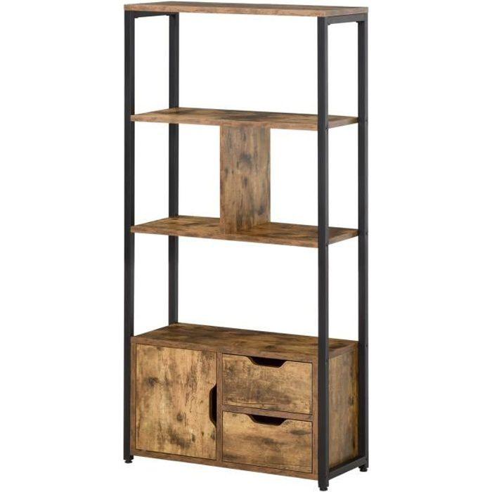 Bibliothèque style industriel 3 étagères placard porte 2 tiroirs panneaux particules aspect vieux bois acier noir 58x24x122cm Marron
