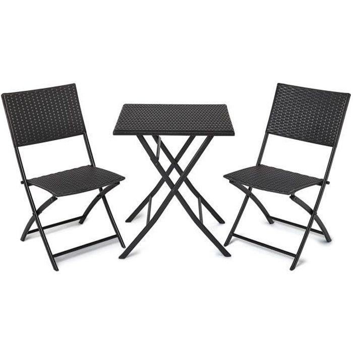 Salon de Jardin Exterieur Set de Balcon Pliable, Terrasse Restaurant, 1 Table et 2 Chaises, en Rotin PE Imperméable