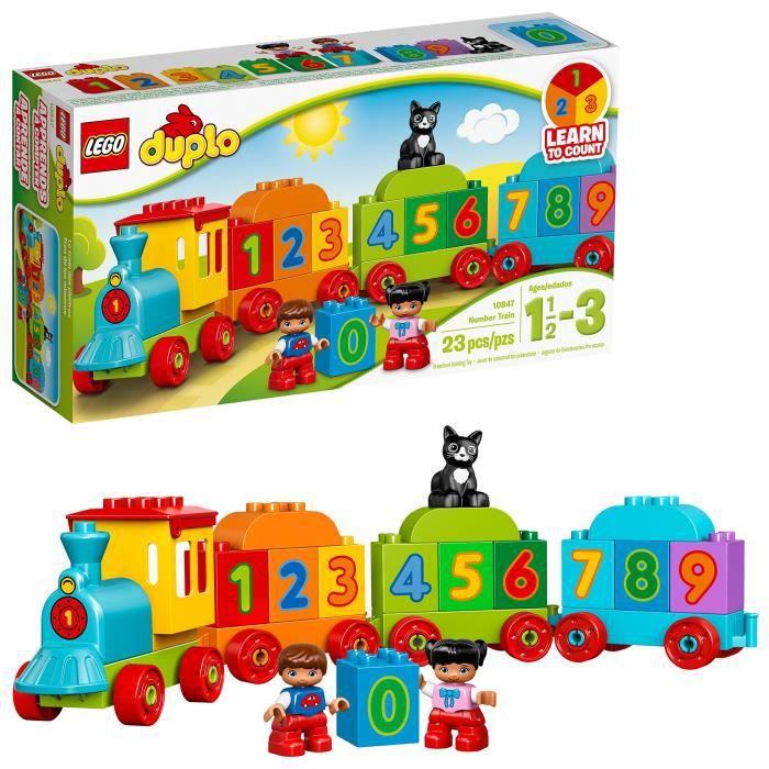 Jeu D'Assemblage LEGO ZIOFR Duplo Nombre de train 10847, école maternelle, pré-maternelle, grand bloc de construction jouets pour en