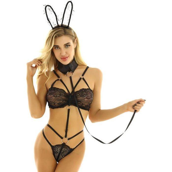 Déguisement Lapin Sexy Femme Costume Bunny Girl Ensemble Lingerie Coquine Nuisette Noir