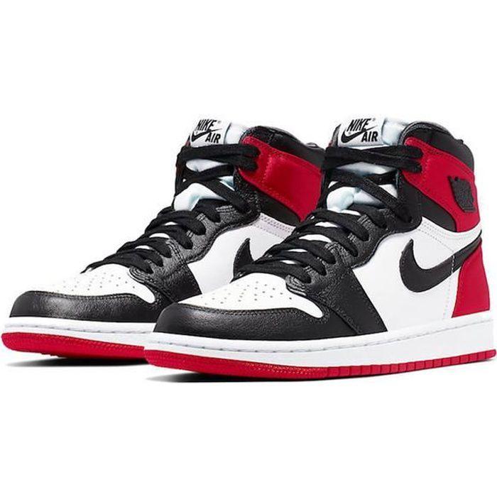 Airs Jordans 1 Retro High Satin Black Toe CD0461-016 Chaussures de Running pour Homme Femme Noir Rouge