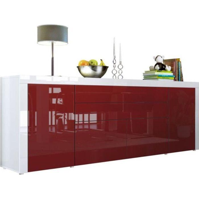 Buffet Bordeaux / Blanc haute brillance 200 cm