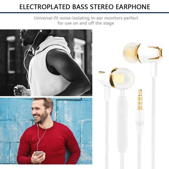 Écouteurs Intra-Auriculaires Oreillettes Intra-Auriculaires Filaires Casque et écouteurs Ergonomique Stéréo avec Microphone