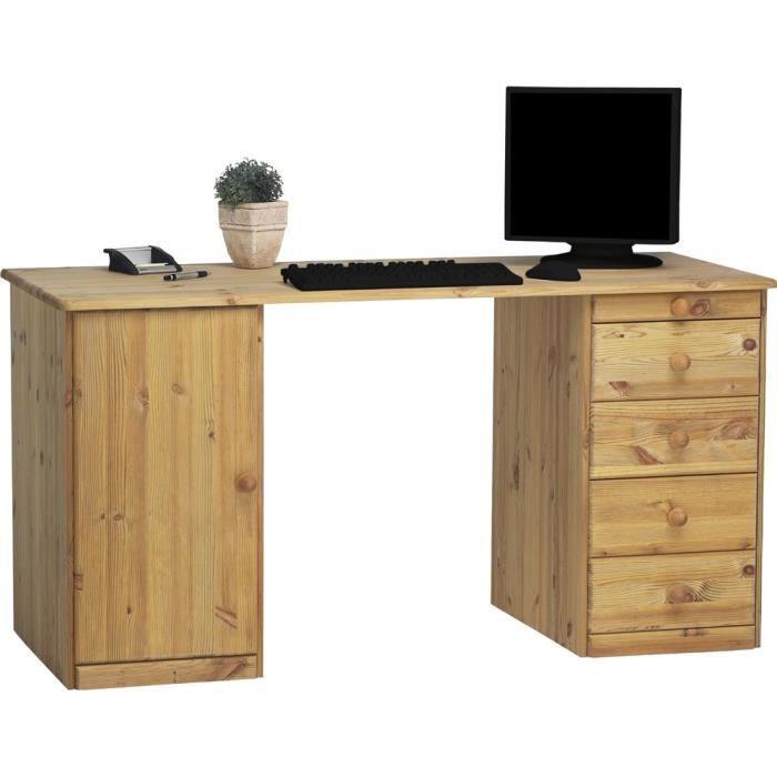Meuble de bureau avec 1 porte et 5 tiroirs en pin coloris naturel huilé, 150 x 60 x 77 cm