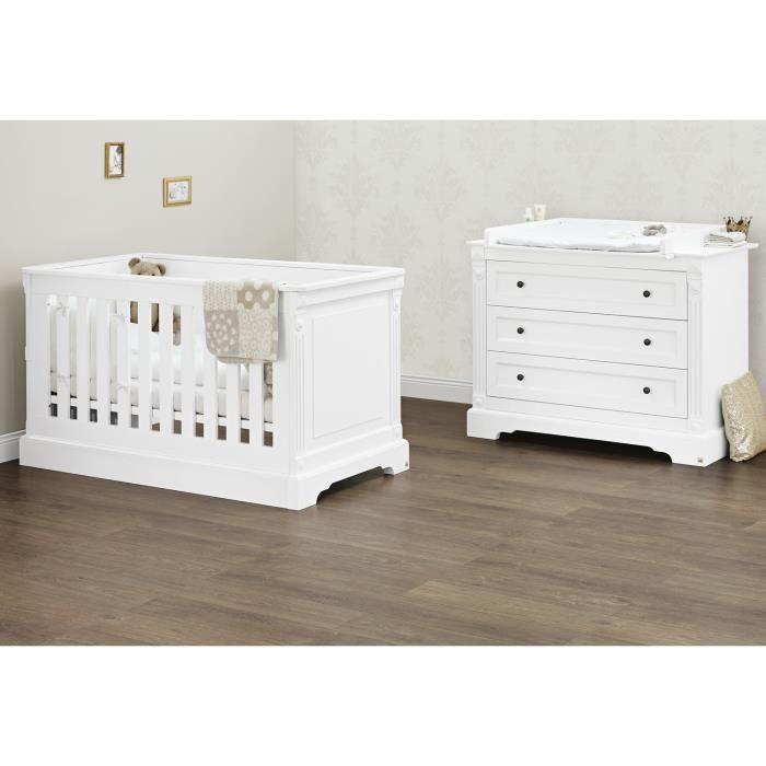 Chambre bébé Emilia : Lit bébé, commode à langer Pinolino