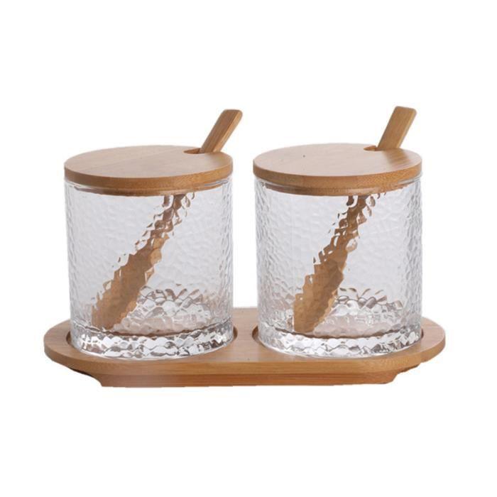 1 Ensemble Verre Ménage AssAISNEMENT Pot Multi-mais en Creative condiment Boîte Bambou pot a epices ustensiles de cuisine
